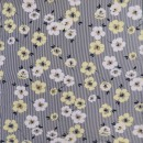 Viscose elasthan smalstribet med hvid og lys gul blomst