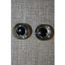 Bamse øje klar/sort 15 mm.