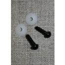 Bamse Øjne m/låsering/sikkerhedsøjne 6 mm. i sort