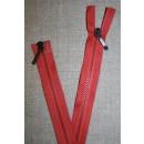 80 cm. lynlås 2-vejs m/sort skyder, koral-rød