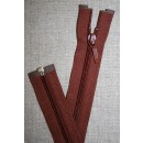 27 cm. delbar lynlås YKK, rød-brun