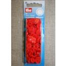 Plast-trykknap rund, orange-rød