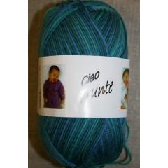 Trunte 100% Merino uld, grøn/petrol/blå