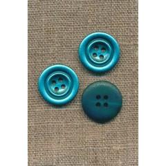 Turkis blank 4-huls knap i metal-look, 20 mm.