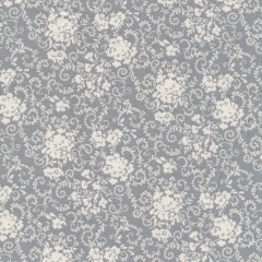 Bomuld m/blomster lysegrå/hvid