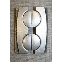 60 mm. spænde til elastikbælter, gl.sølv