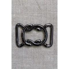 30 mm. spænde 8-tal til elastikbælter, gun metal
