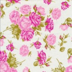 Fast bomuldspoplin med roser i hvid og lyserød