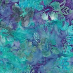 Patchworkstof batik med blomster i aqua og lilla
