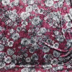 Spantex Velour med blomster i lys blomme og grå