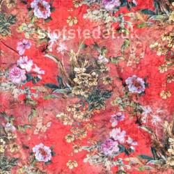 Spantex Velour med blomster i rød gul flaskegrøn