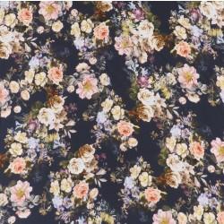 Crepé viscose med digitalprint med blomster i marine