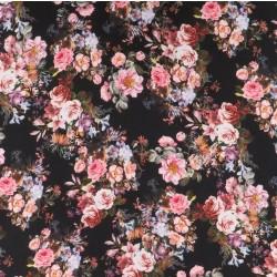 Crepé viscose med digitalprint med blomster i sort