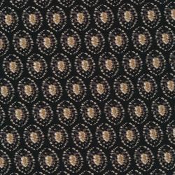 100% viskose twill-vævet med ovalt mønster i sort
