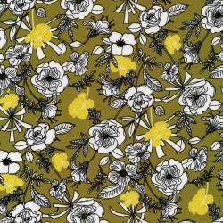 100% viscose i oliven med blomster i hvid, sort og gul