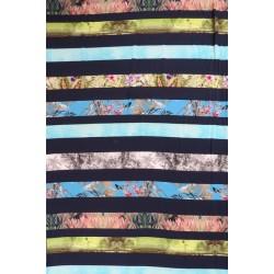 Afklip Jersey i Viscose/lycra digitalprint marine med striber med print, 100 cm.