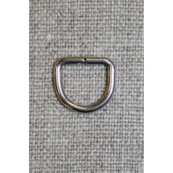 D-ring sølv, 10 mm.